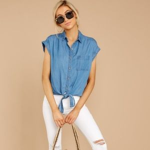 Velvet Heart Blue Chambray Tie Bottom Button Top